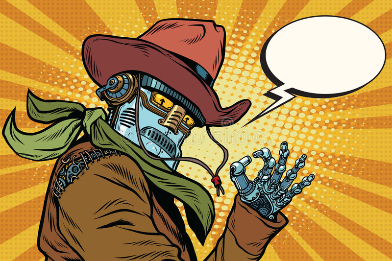 Gest för godkännande för Steampunk robotcowboy royaltyfri illustrationer