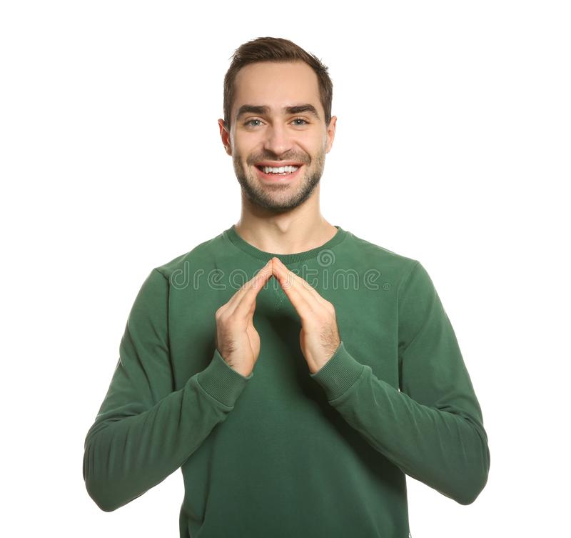Gest för manvisningHUS i teckenspråk på vit arkivfoton