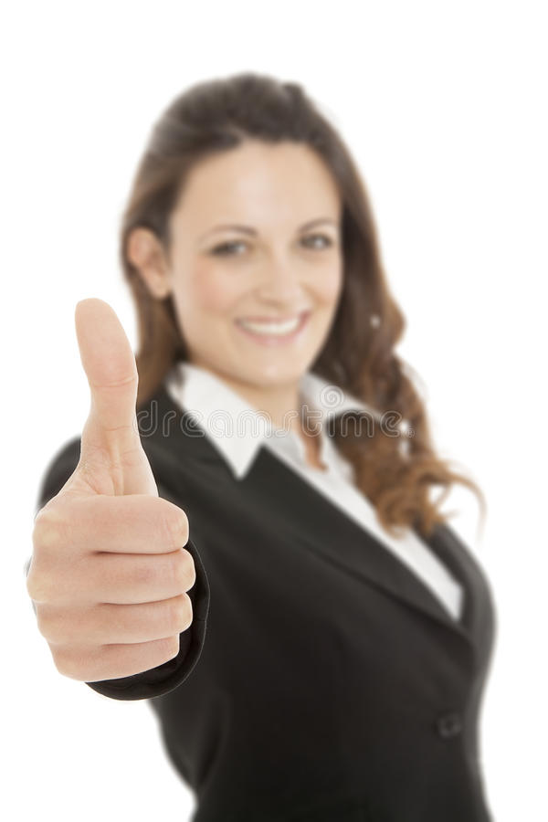 Gest för tumme för affärskvinna övre arkivfoto