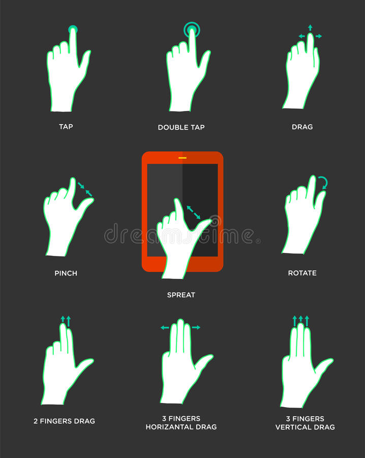 Gest ikony dla dotyków przyrządów royalty ilustracja