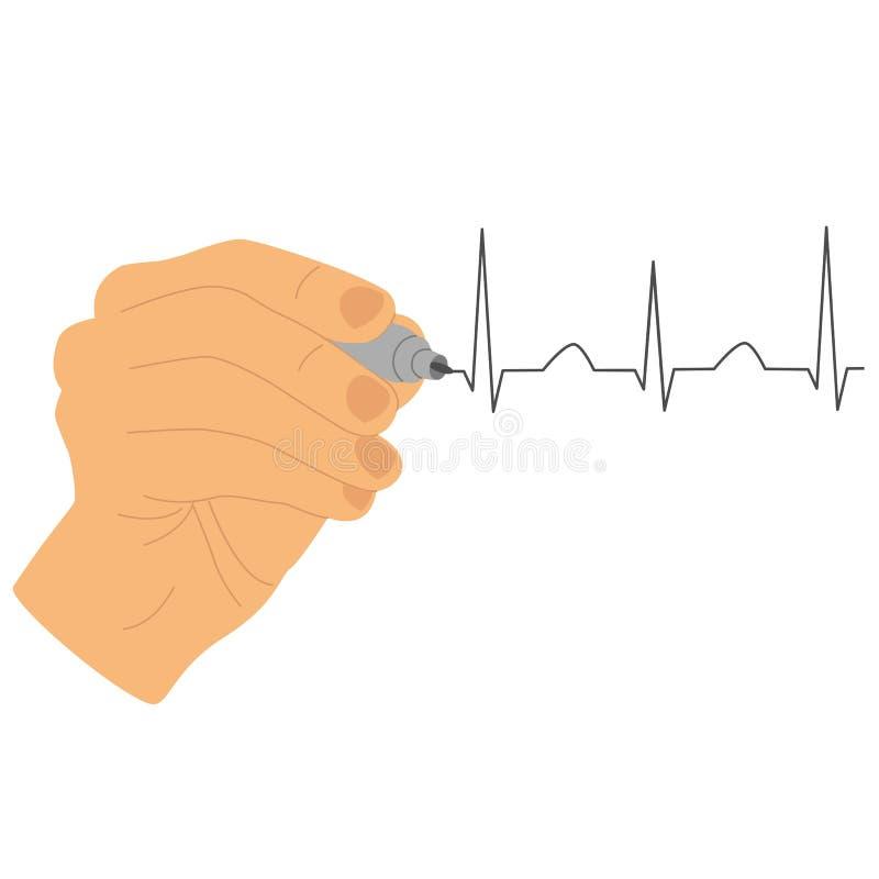 gest ikony kciuki w g?r? r?ce Ręka rysuje kardiogram z markierem ilustracja wektor