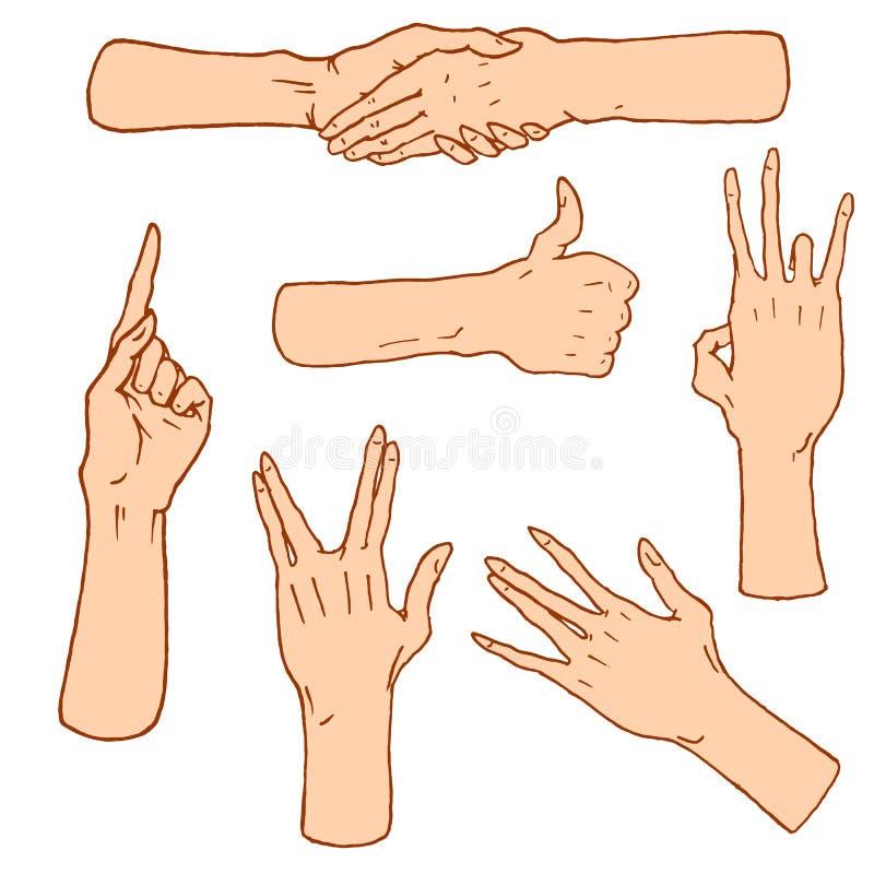 Gest ręki zatrzymują, dotykają pointeru i one modlą się, palma, aprobaty, ok, jak lub uścisk dłoni, pięść, pokój i skały n rolka, ilustracji