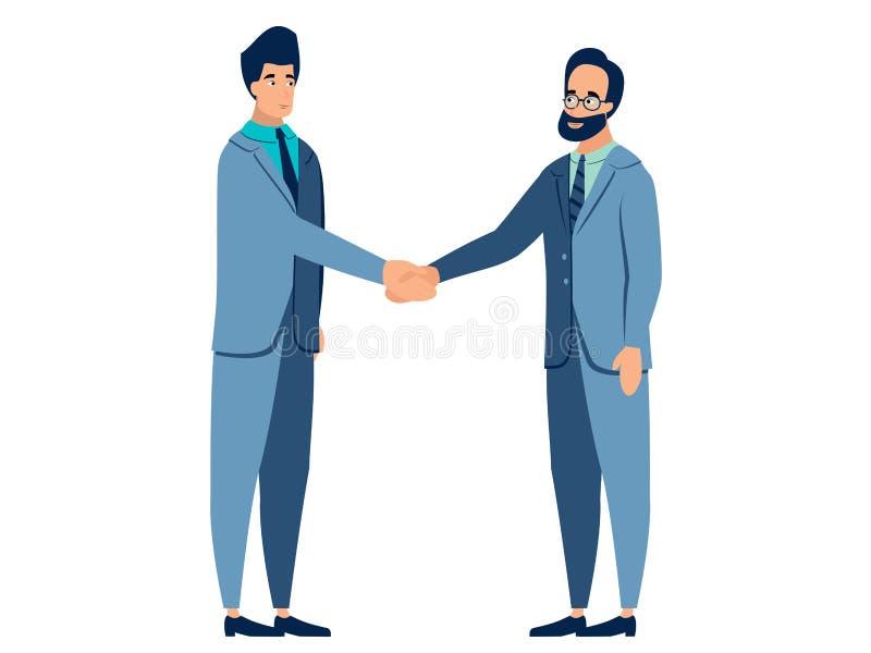Gest zgoda, uścisk dłoni Kontrakt podpisuje, partnery biznesowi W minimalisty stylu kresk?wki mieszkania wektorze royalty ilustracja