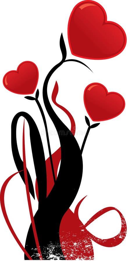 Gestalte gegeven de bloem vectorillustratie van valentijnskaarten hart vector illustratie