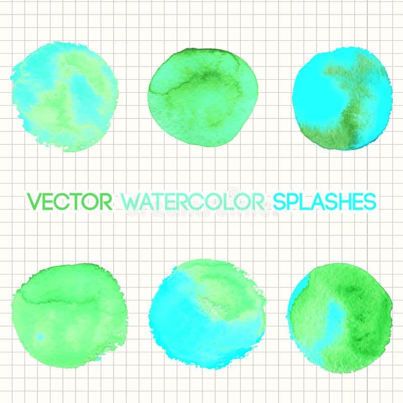 Gestalte gegeven het ontwerpelementen van de munt groene waterverf rond vector illustratie