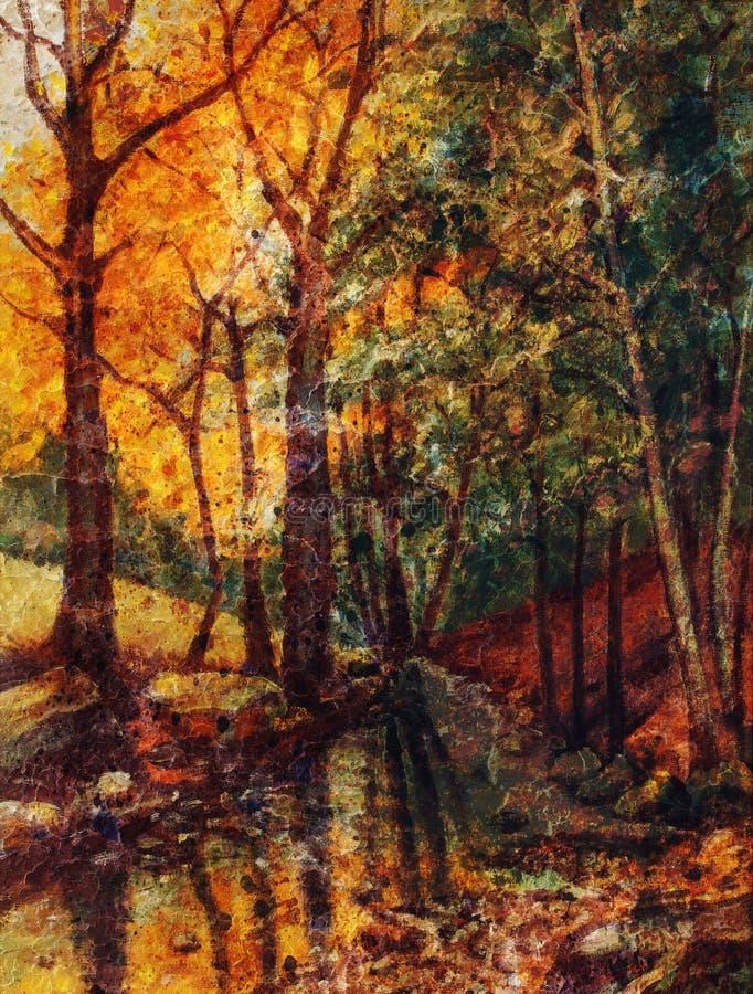 Gestalten Sie Ölgemälde mit Fluss im Herbstwaldweinlese-Strukturhintergrund landschaftlich lizenzfreie abbildung