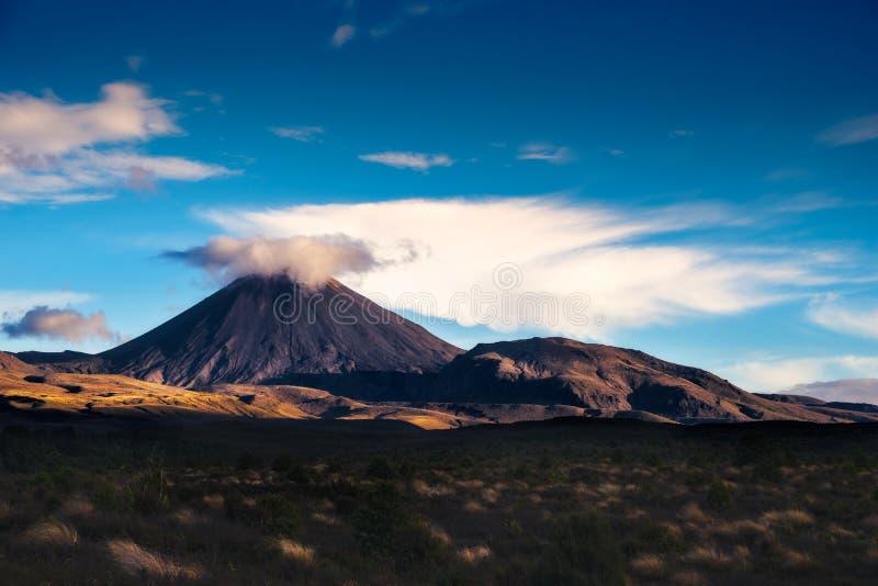 Gestalten Sie Ansicht von Mt Ngauruhoe in Nationalpark Tongariro, Neuseeland landschaftlich lizenzfreies stockfoto