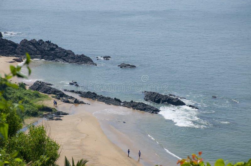 Gestalten Sie den tropischen Strand von Vasco De Gamma in Indien landschaftlich lizenzfreies stockfoto