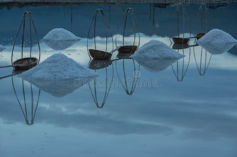 Gestalten Sie die traditionellen Dörfer landschaftlich, die Salz vom Meer gemacht werden, hatte 18. Jahrhundert lizenzfreie stockfotos
