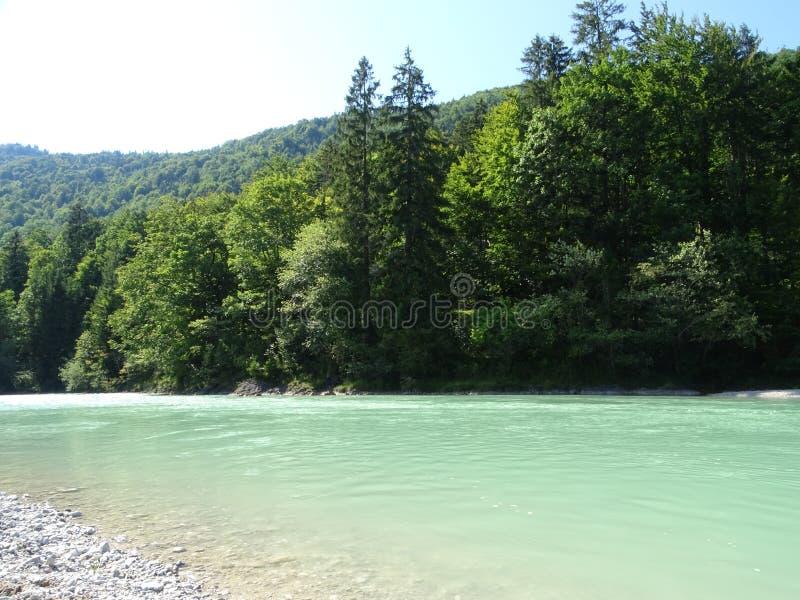 Gestalten Sie durch den Fluss Isar nahe Tal Fleck, Bayern landschaftlich lizenzfreie stockfotografie