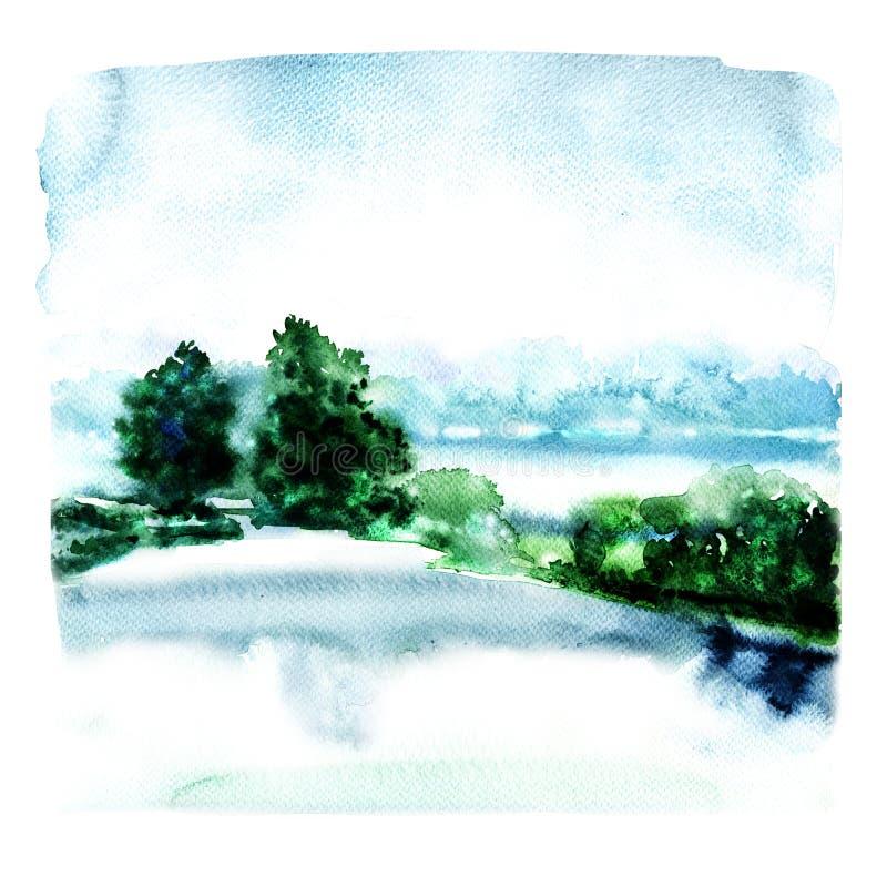 Gestalten Sie Fluss und Wald im Nebel, abstrakte Aquarellillustration landschaftlich stock abbildung
