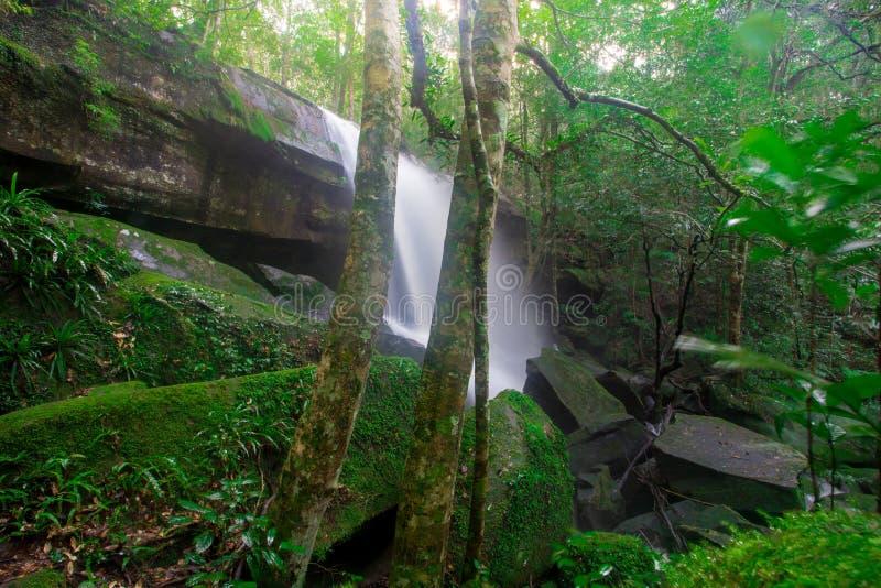 Gestalten Sie Foto, Huay Mae Kamin Waterfall, erstaunlicher Wasserfall im wunderbaren Herbstwald, schöner Wasserfall im Regenwald stockbild