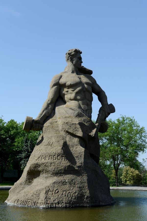 Gestalten Sie Kampf zum Tod des Mamaev Kurgan in Wolgograd stockfotos