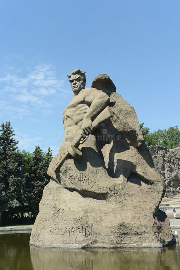 Gestalten Sie Kampf zum Tod des Mamaev Kurgan in Wolgograd lizenzfreie stockfotografie
