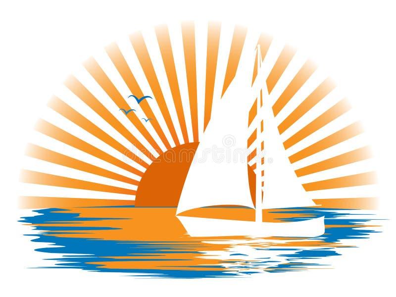Gestalten Sie mit einem Segelboot auf dem Hintergrund des Sonnenuntergangs landschaftlich lizenzfreie stockfotografie