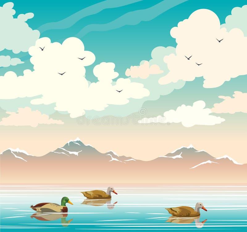 Gestalten Sie mit Enten, See, Bergen und bewölktem Himmel landschaftlich vektor abbildung