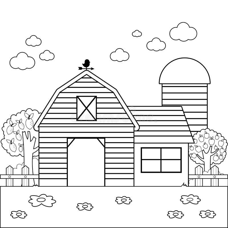 Gestalten Sie mit Scheunen-, Bauernhaus-, Zaun- und Obstgartenbäumen landschaftlich stock abbildung