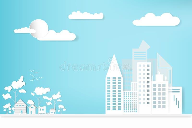 Gestalten Sie Stadtstadt und -haus mit Himmelwolkenhintergrund landschaftlich Konzeptwachstum in der Landschaft Designpapierkunst lizenzfreie abbildung