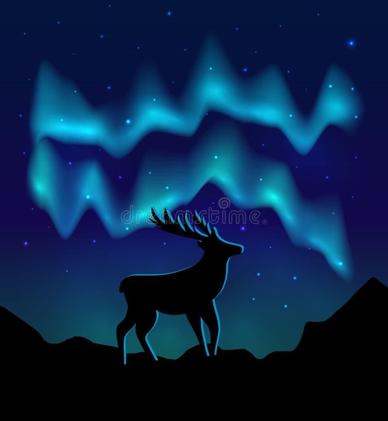 Gestaltet Nordlichter im sternenklaren Himmel und mit Schattenbild von Rotwild auf Bergen landschaftlich Vektor eps10 lizenzfreie abbildung