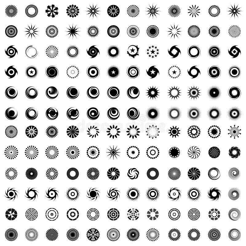 Gestaltungselemente in der Kreisform 144 abstrakte Ikonen vektor abbildung
