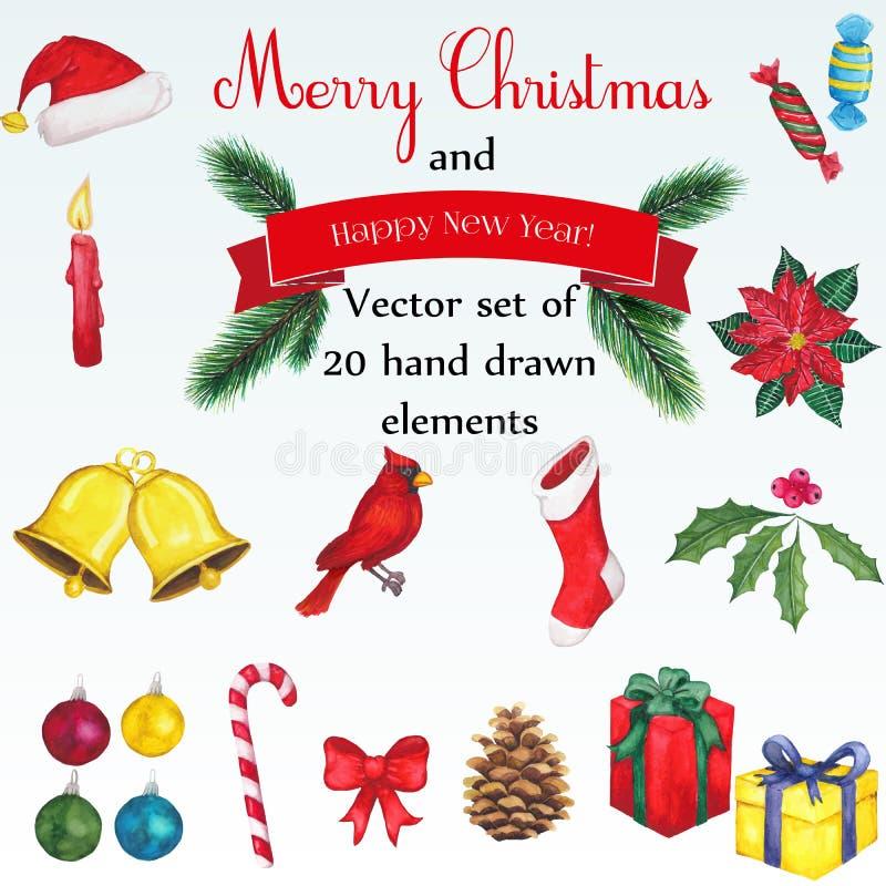 Gestaltungselementsatz der frohen Weihnachten lizenzfreie abbildung