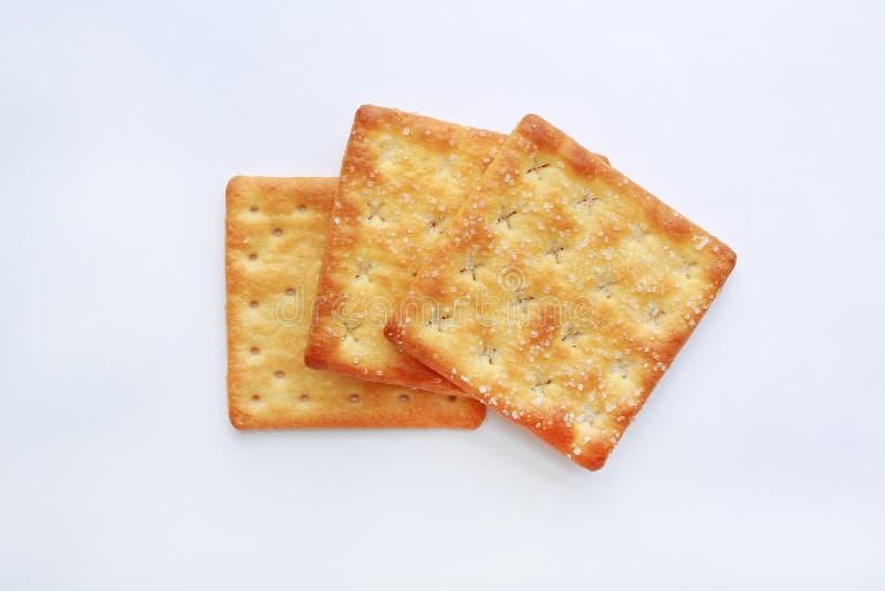 Gestapeld Crackerkoekje op witte achtergrond Sluit omhoog stock afbeeldingen