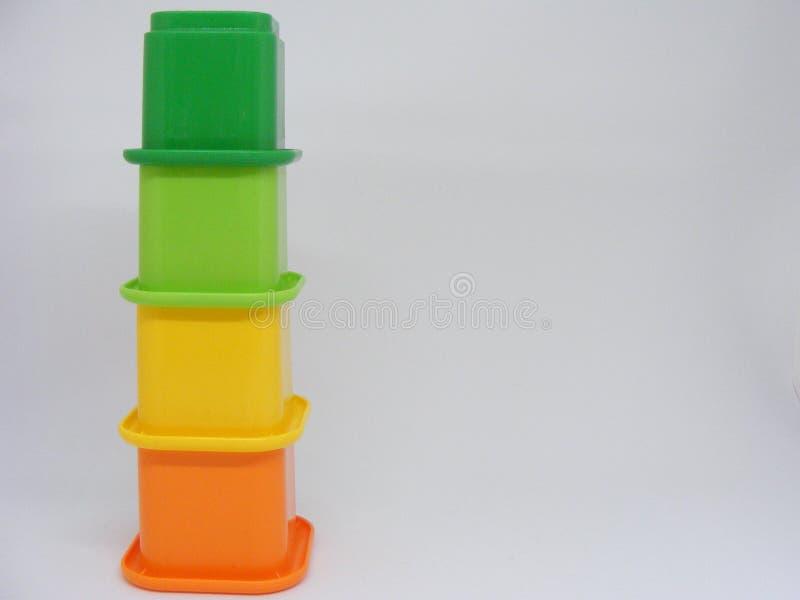 Gestapeld kleurrijk stuk speelgoed royalty-vrije stock foto