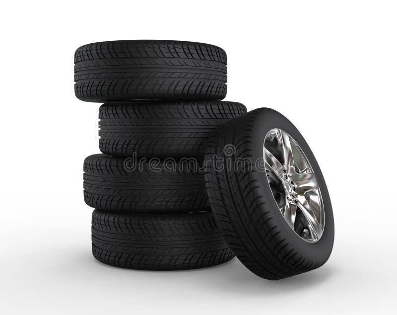 Gestapelde autowielen en banden vector illustratie