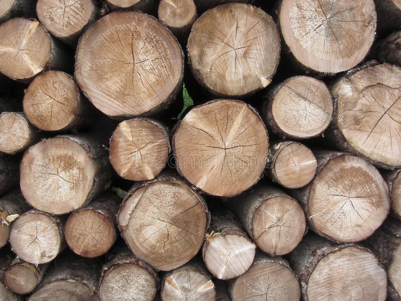Gestapelde brandhoutstapel Woodpile van ronde logboeken Gehakte houten boomstammen als achtergrond stock fotografie