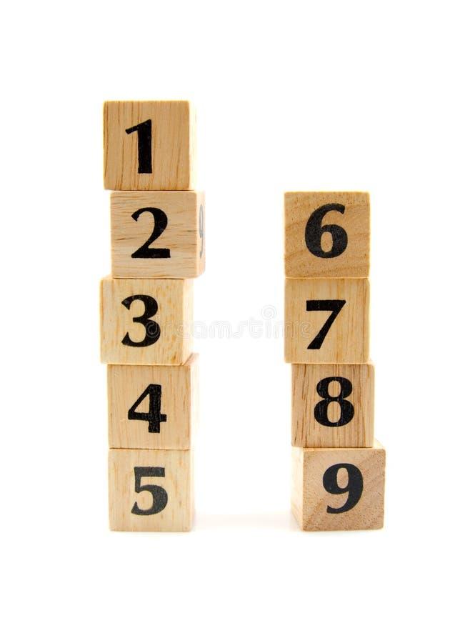 Gestapelde houten blokken met aantallen royalty-vrije stock foto