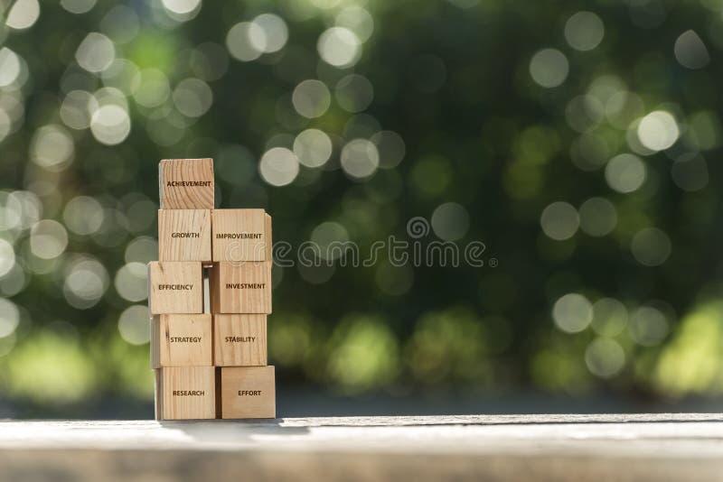 Gestapelde houten die bouwstenen met zaken als thema gehad woord worden geëtiketteerd royalty-vrije stock foto