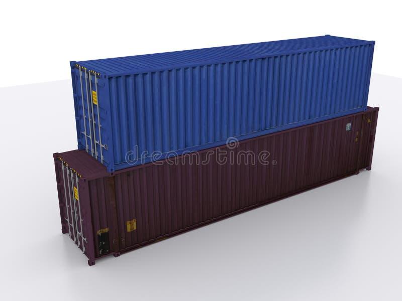 Gestapelde ISO-containers vector illustratie