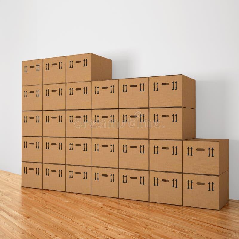 Gestapelde kartondozen stock illustratie