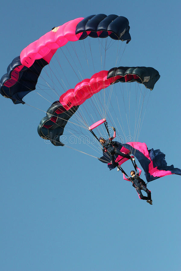 Gestapelde Skydivers royalty-vrije stock foto