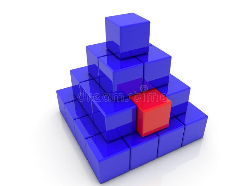 Gestapelde stuk speelgoed kubussen in piramide in blauwe en rode kleur op wit royalty-vrije illustratie