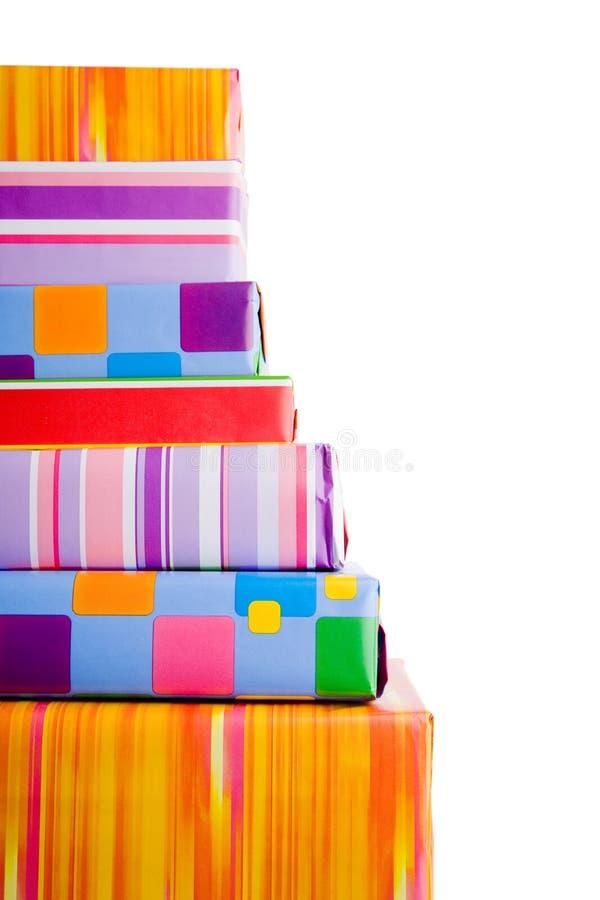 Gestapelte Geschenke stockfoto