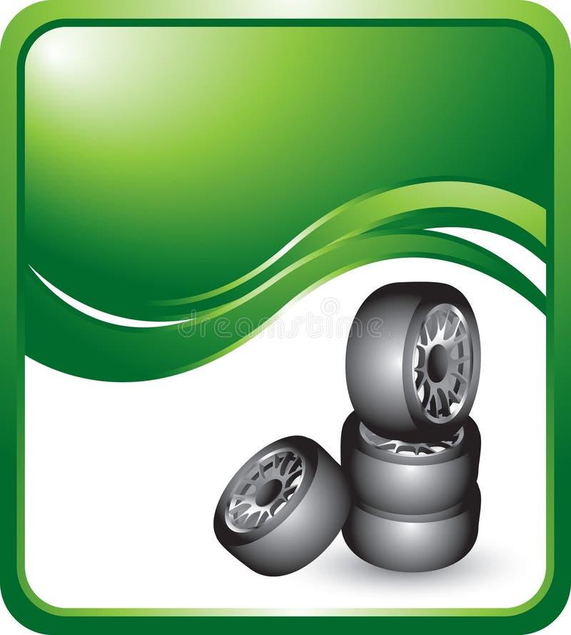 Gestapelte Gummireifen auf Fahne der grünen Welle lizenzfreie abbildung