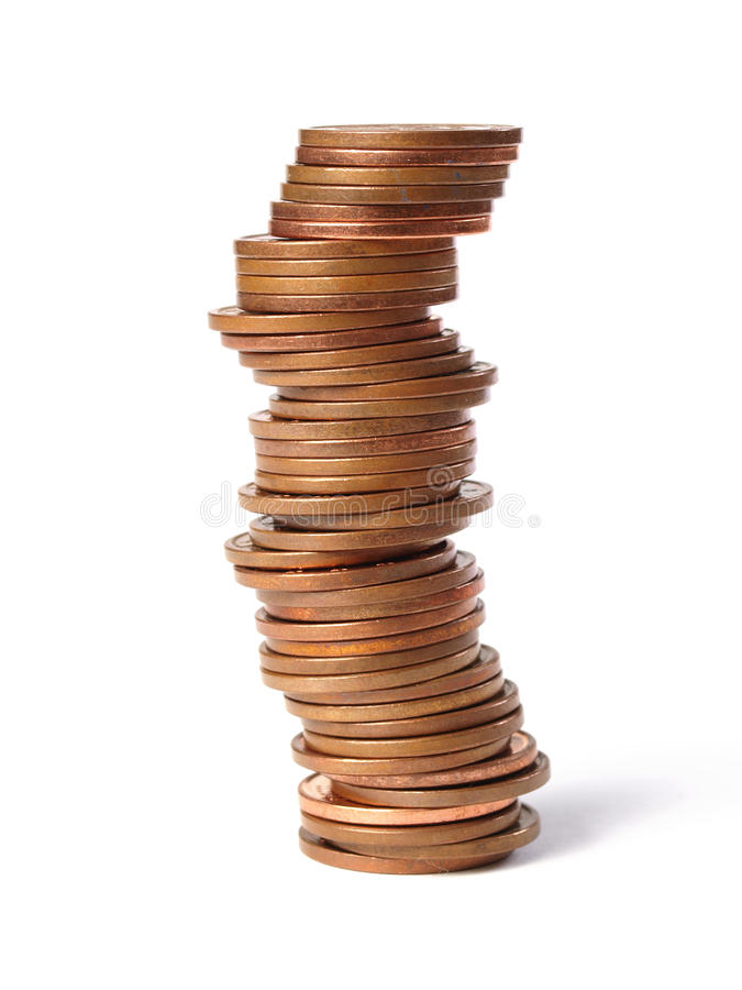 Gestapelte Münzen stockfotos