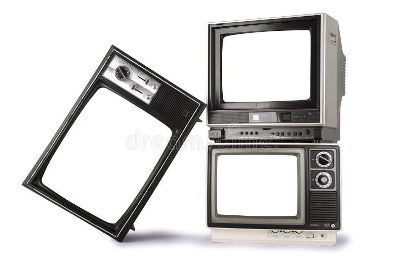 Gestapelte Retro- Fernsehen lizenzfreies stockbild