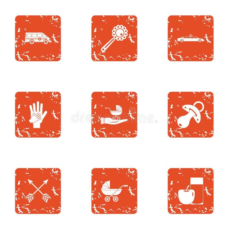 Gestation ikony ustawiać, grunge styl ilustracja wektor