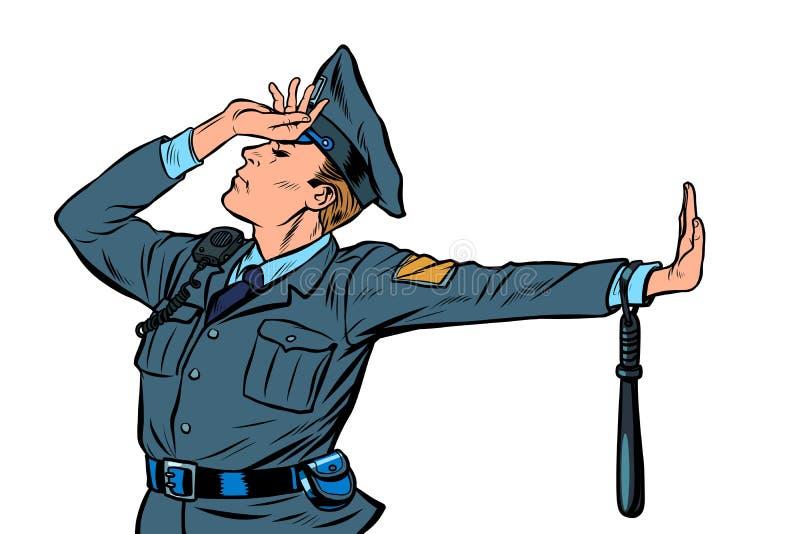 Geste caucasien de démenti de honte de policier pas illustration stock