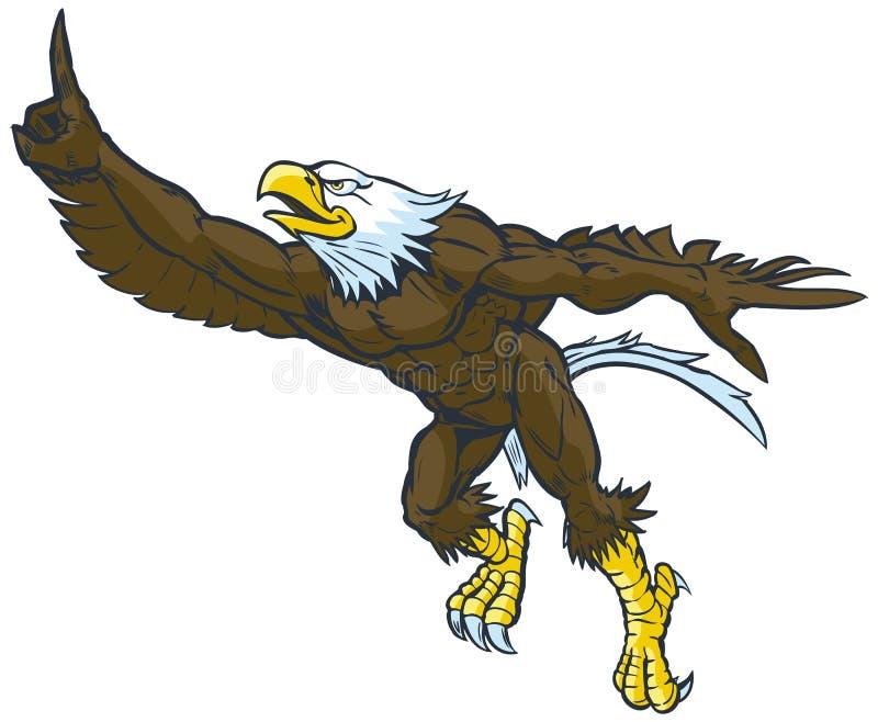 Geste chauve d'Eagle Mascot Doing Number One de bande dessinée illustration stock
