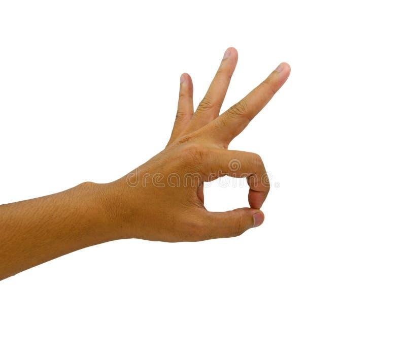 Geste correct de main de l'homme sur le fond blanc photo libre de droits