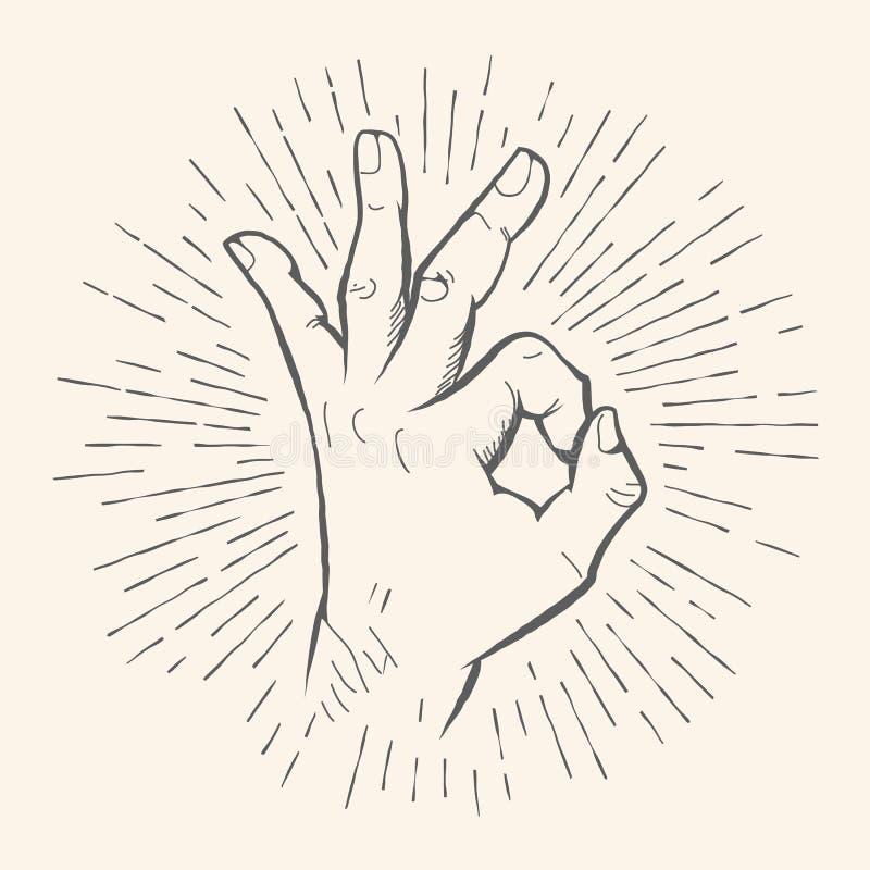 Geste CORRECT de vecteur Croquis tiré par la main de signe d'Allright illustration stock
