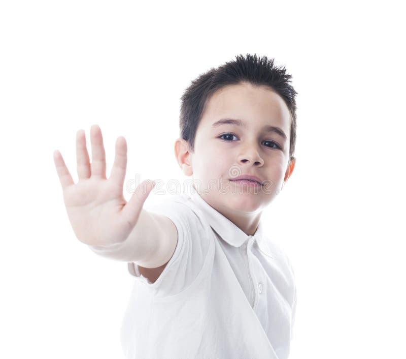 Geste d'arrêt d'apparence d'enfant photographie stock libre de droits
