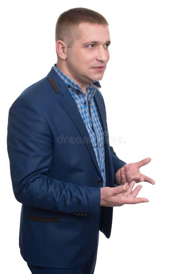 Geste d'homme d'affaires avec des mains images stock