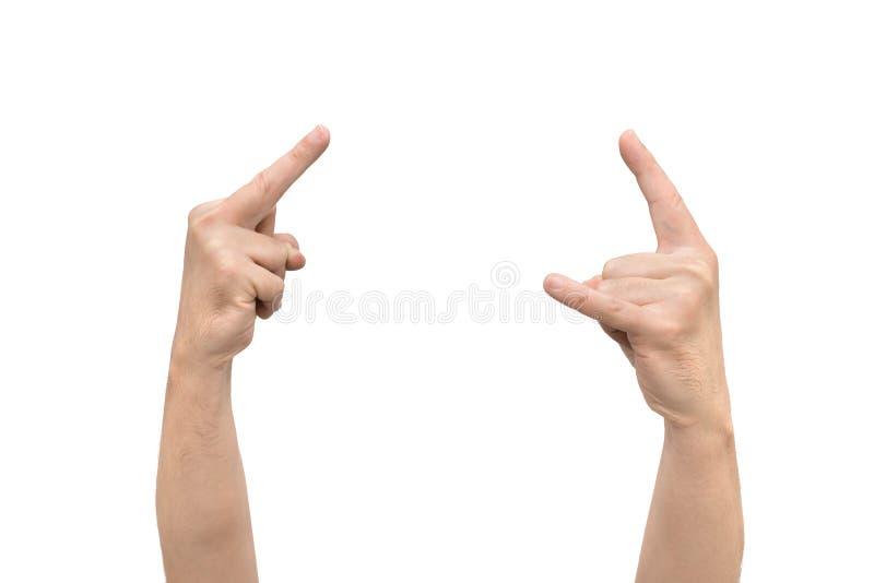 Geste d'insulte avec le doigt et geste des klaxons photographie stock