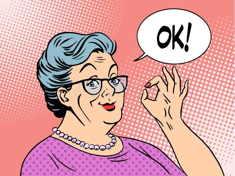 Geste d'ok de grand-maman de dame âgée illustration stock