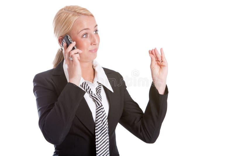 geste de femme d'affaires effectuant parler photos stock