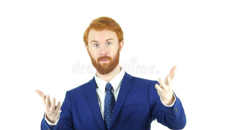 Geste de invitation par l'homme d'affaires rouge de barbe de cheveux, images stock